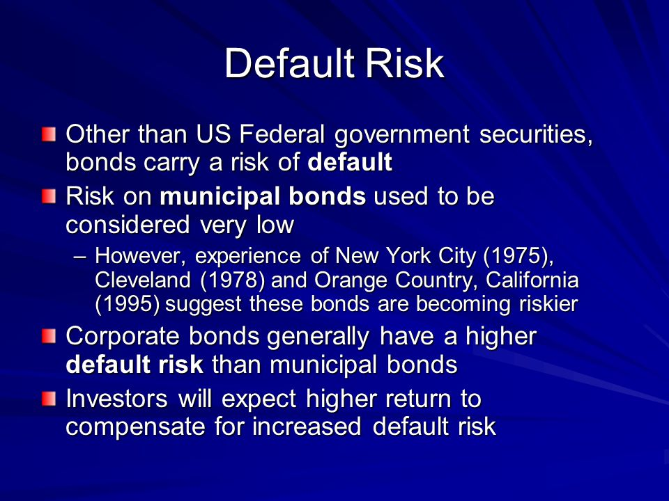 Default Risk Other than US Federal government securities, bonds carry a risk of default Risk on municipal bonds used to be considered very low –However, experience of New York City (1975), Cleveland (1978) and Orange Country, California (1995) suggest these bonds are becoming riskier Corporate bonds generally have a higher default risk than municipal bonds Investors will expect higher return to compensate for increased default risk