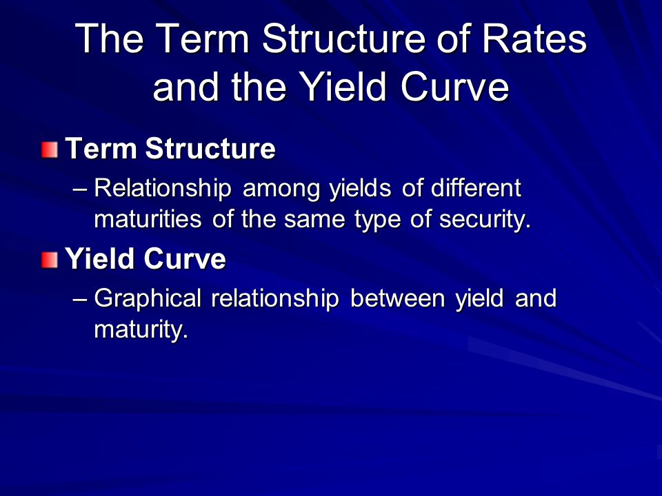 The Term Structure of Rates and the Yield Curve Term Structure –Relationship among yields of different maturities of the same type of security.
