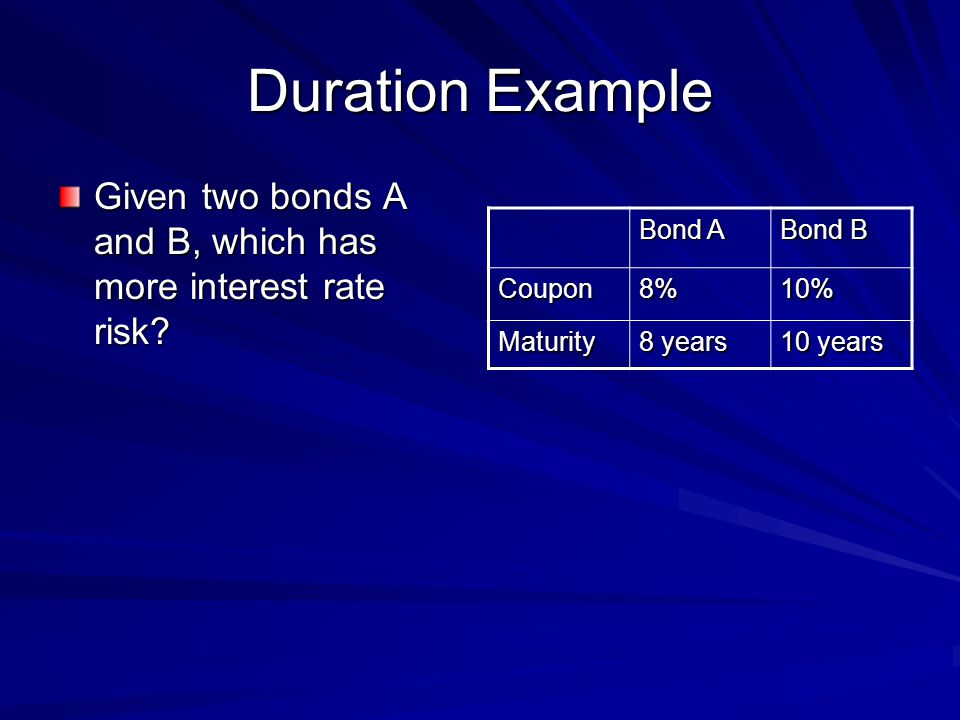 Duration Example Given two bonds A and B, which has more interest rate risk.