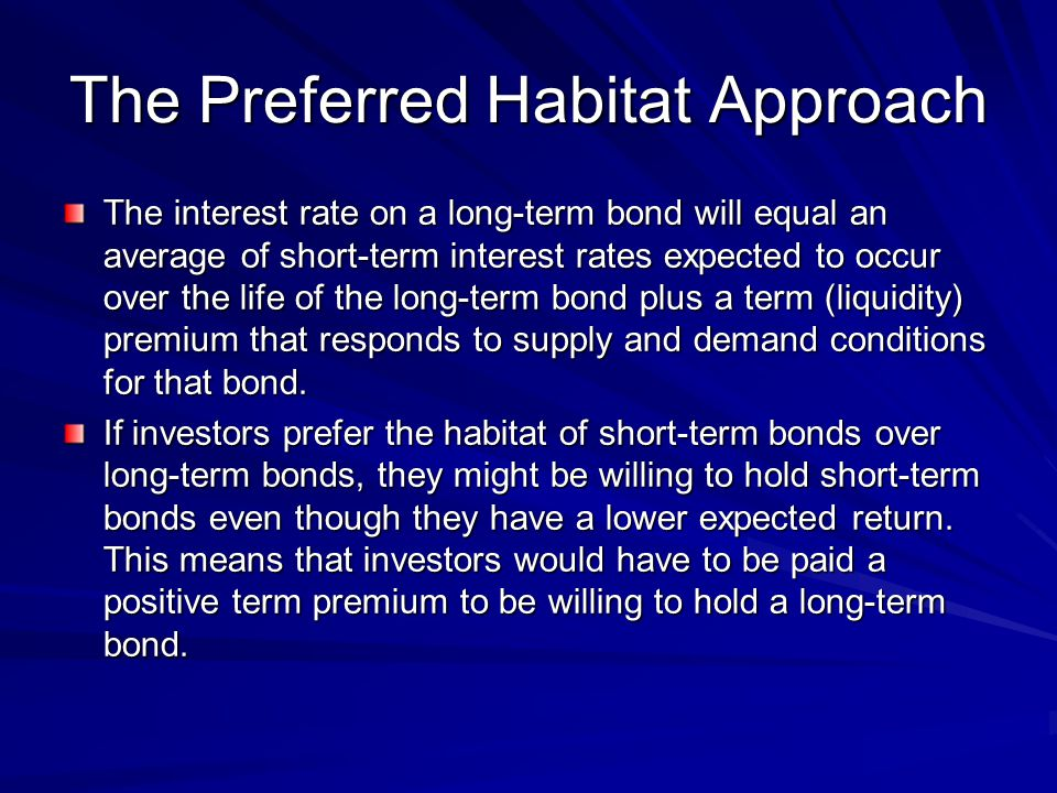 The Preferred Habitat Approach The interest rate on a long-term bond will equal an average of short-term interest rates expected to occur over the life of the long-term bond plus a term (liquidity) premium that responds to supply and demand conditions for that bond.