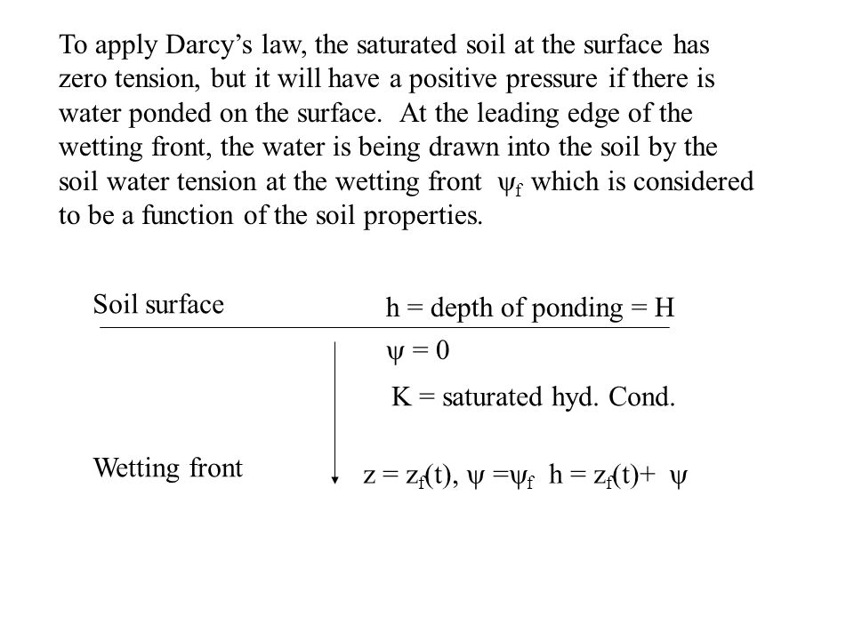 Applying Darcy's law in difference formulation: q z = K h (  )  (z+ ψ (  ))  z K h (  ) can be replaced with saturated hydraulic conductivity K h * And also recognizing that  z = z f '(t) where z' f (t) = the depth that the wetting front has penetrated into the soil And recalling that F(t) = (  -  o)z' f (t) And doing a number of substitutions and reorganizations leads too..
