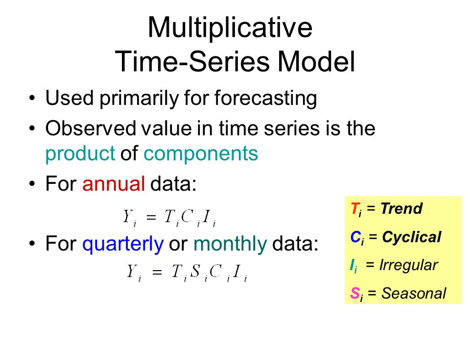 Multiplicative Time-Series Model Used primarily for forecasting Observed value in time series is the product of components For annual data: For quarterly or monthly data: T i = Trend C i = Cyclical I i = Irregular S i = Seasonal