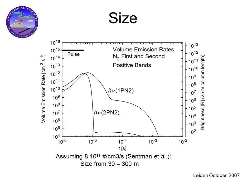Leiden October 2007 Size Assuming 8 10 11 #/cm3/s (Sentman et al.): Size from 30 – 300 m