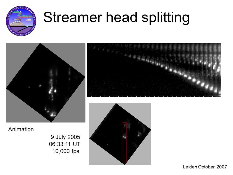 Leiden October 2007 Streamer head splitting 9 July 2005 06:33:11 UT 10,000 fps Animation