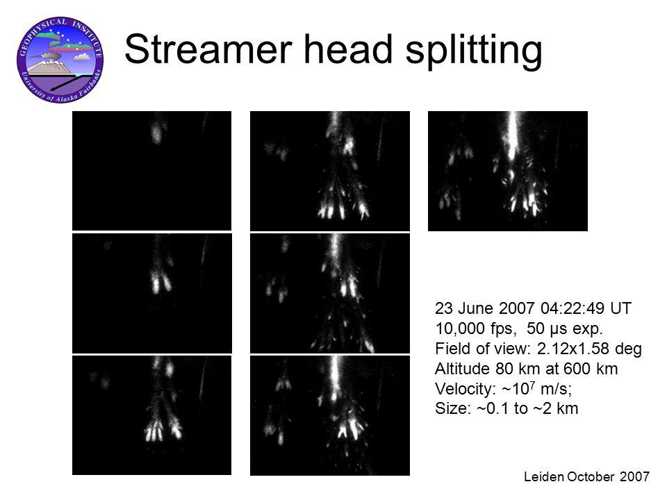 Leiden October 2007 Streamer head splitting 23 June 2007 04:22:49 UT 10,000 fps, 50 μs exp.