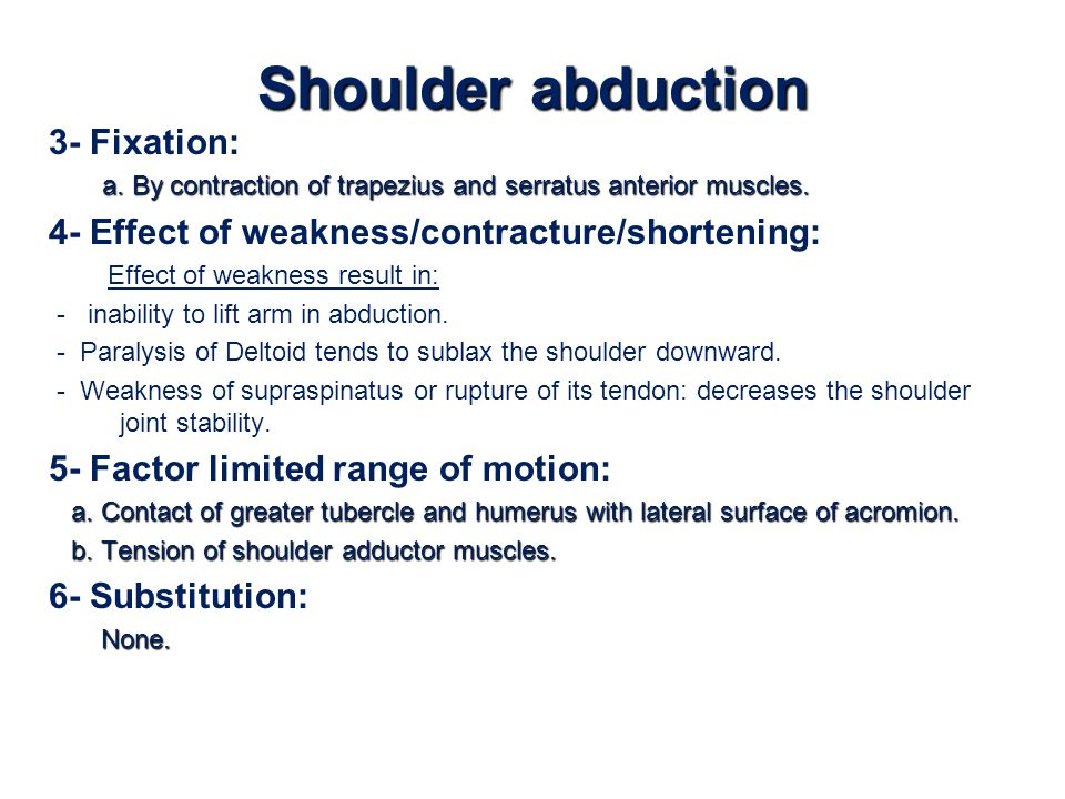 Shoulder abduction 3- Fixation: a. By contraction of trapezius and serratus anterior muscles. 4- Effect of weakness/contracture/shortening: Effect of