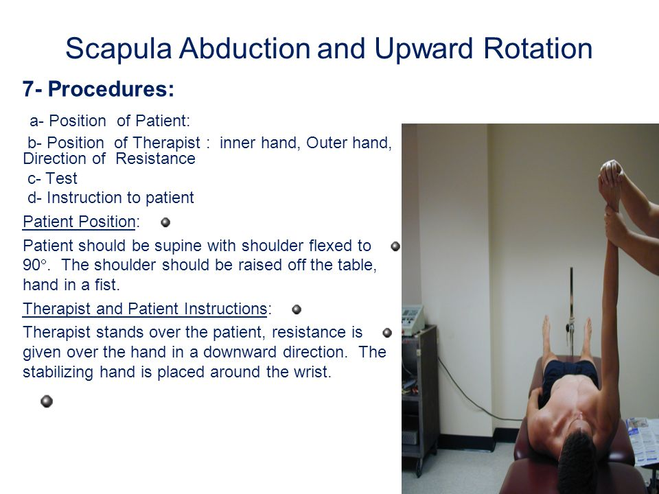 Shoulder abduction 7- Procedures: a- Position of Patient: b- Position of Therapist : inner hand, Outer hand, Direction of Resistance c- Test d- Instruction to patient