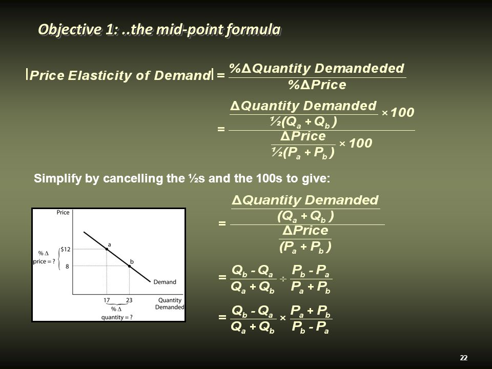 22 Objective 1:..the mid-point formula Simplify by cancelling the ½s and the 100s to give: