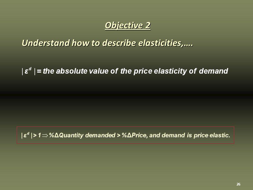 26 Objective 2 Understand how to describe elasticities,….
