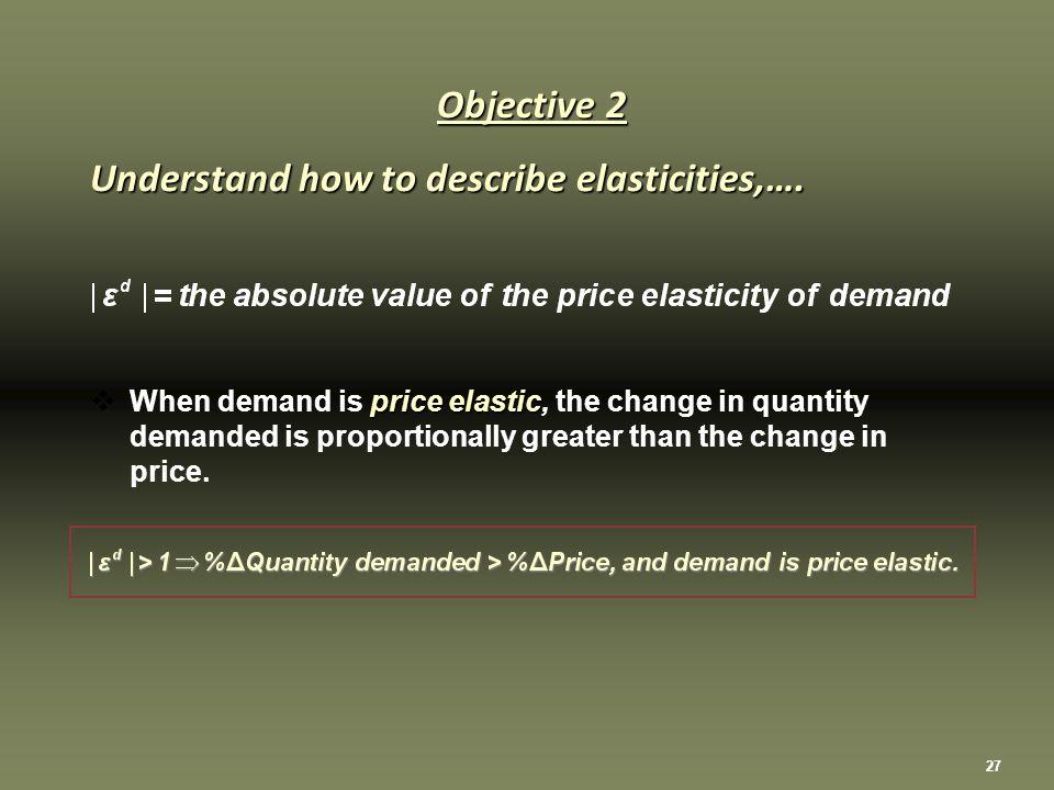 27 Objective 2 Understand how to describe elasticities,….