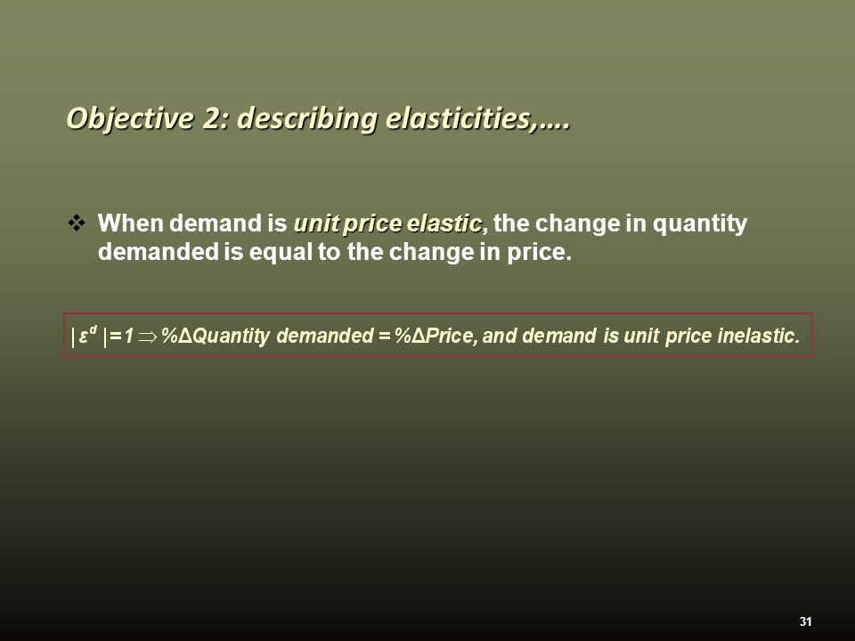 31 unit price elastic  When demand is unit price elastic, the change in quantity demanded is equal to the change in price.