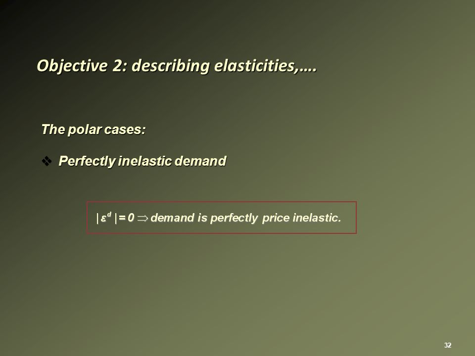 32 The polar cases:  Perfectly inelastic demand Objective 2: describing elasticities,….