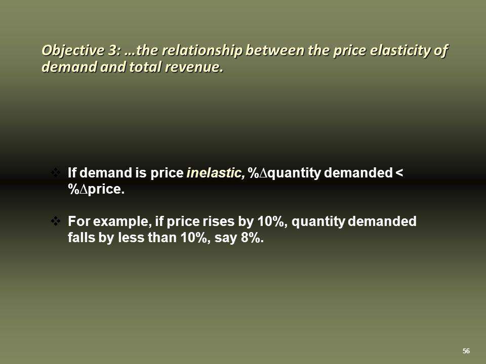 56 inelastic,  If demand is price inelastic, %∆quantity demanded < %∆price.