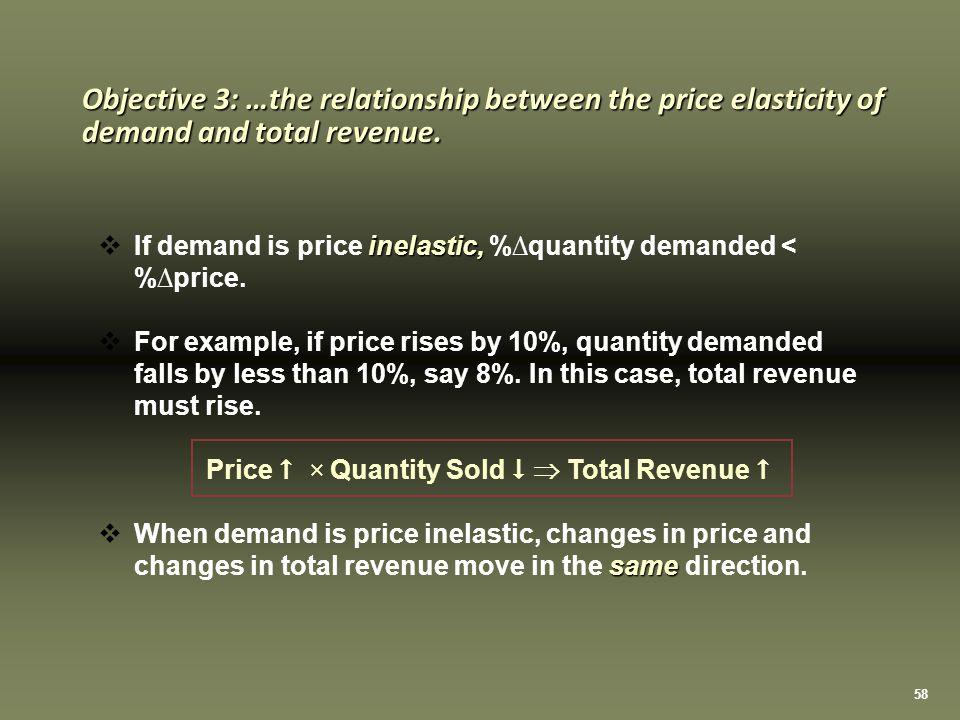 58 inelastic,  If demand is price inelastic, %∆quantity demanded < %∆price.