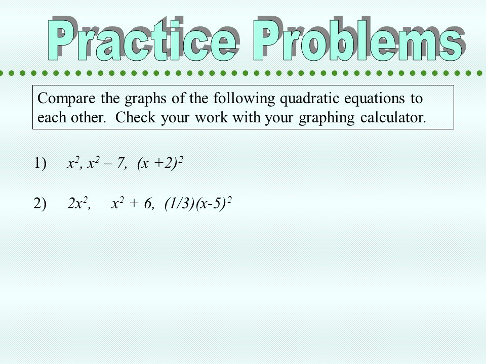 Compare the graphs of the following quadratic equations to each other.