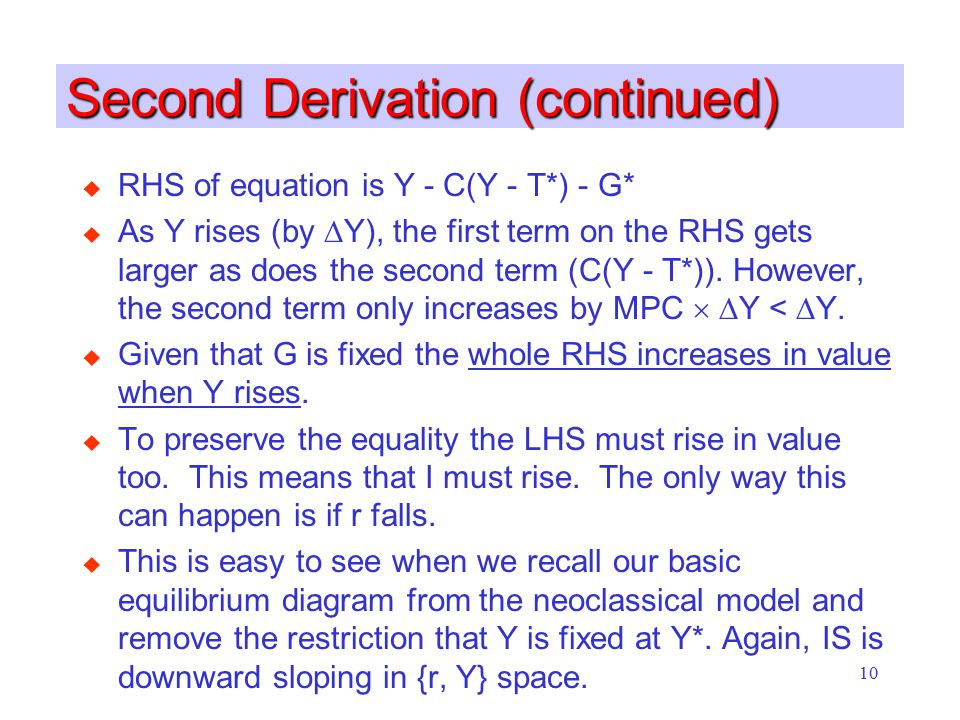 10 Second Derivation (continued) u RHS of equation is Y - C(Y - T*) - G* u As Y rises (by  Y), the first term on the RHS gets larger as does the second term (C(Y - T*)).