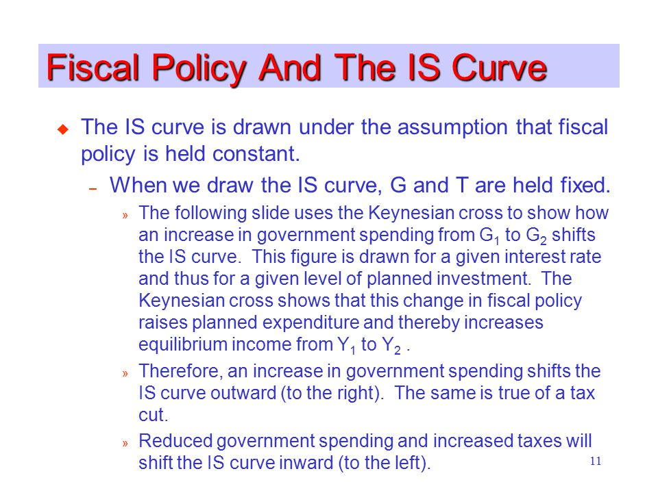11 Fiscal Policy And The IS Curve u The IS curve is drawn under the assumption that fiscal policy is held constant. – When we draw the IS curve, G and