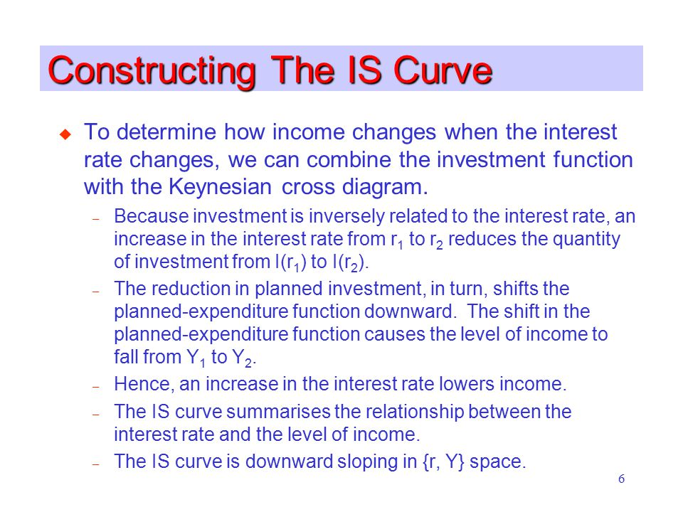6 Constructing The IS Curve u To determine how income changes when the interest rate changes, we can combine the investment function with the Keynesia