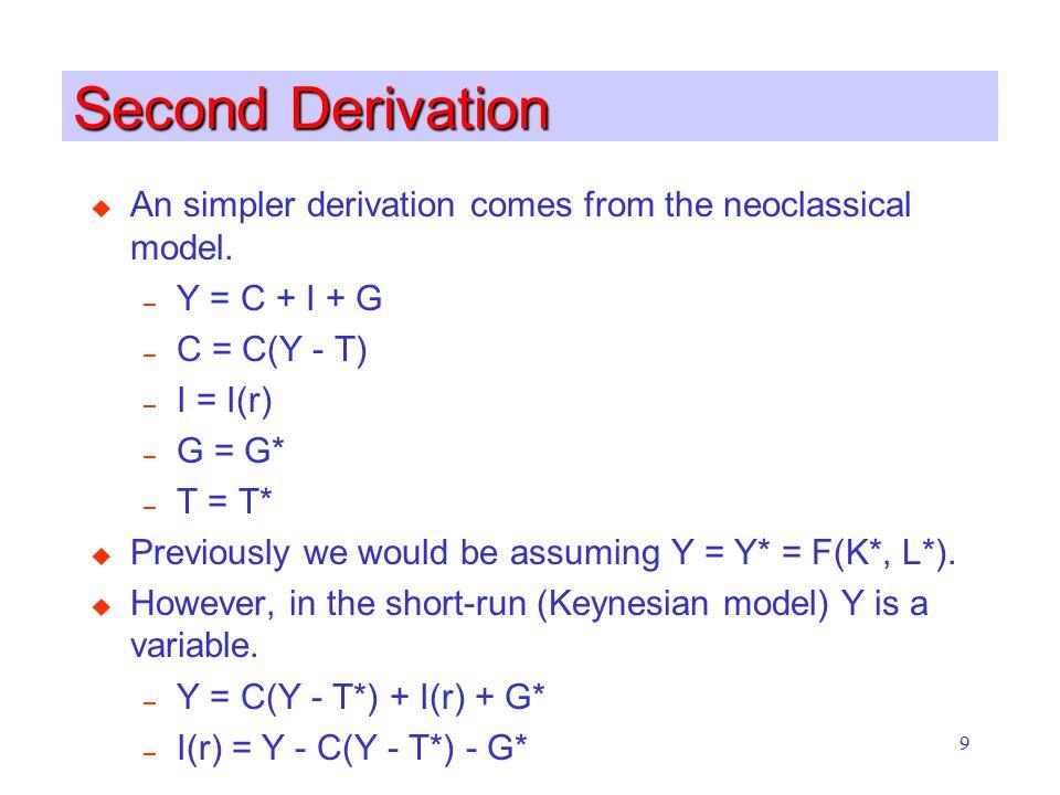9 Second Derivation u An simpler derivation comes from the neoclassical model. – Y = C + I + G – C = C(Y - T) – I = I(r) – G = G* – T = T* u Previousl