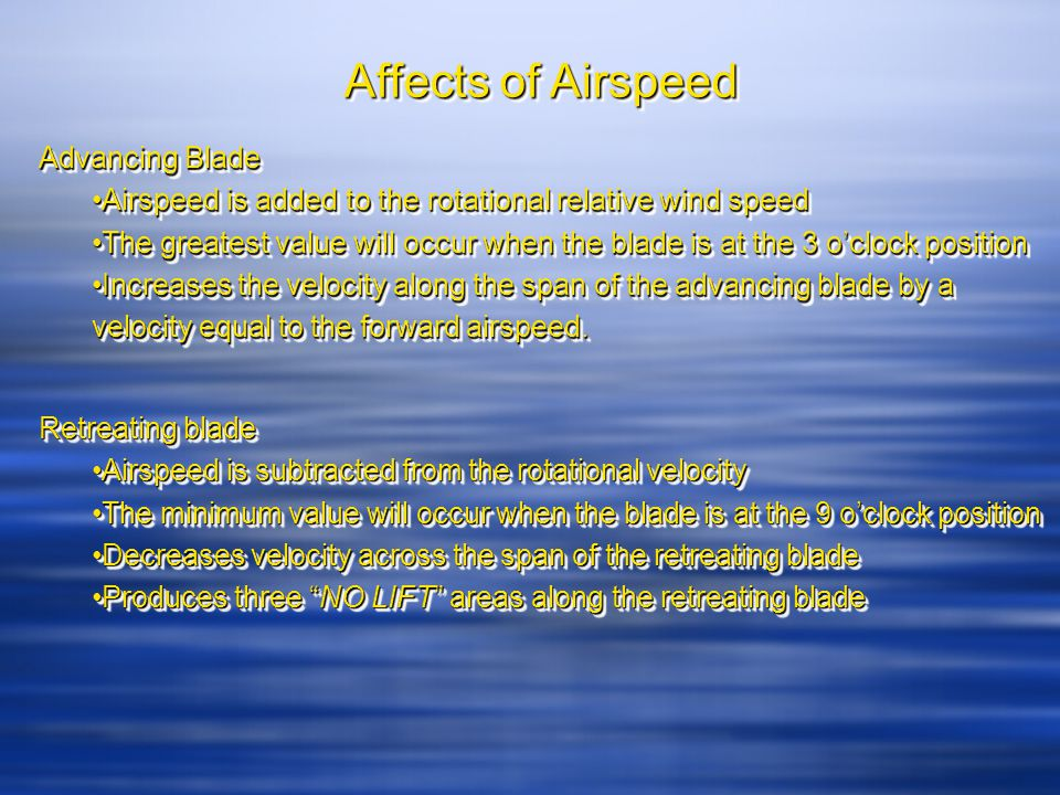 Affects of Airspeed cont.