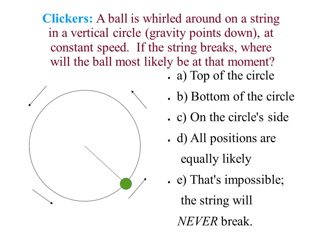 Clickers: A ball is whirled around on a string in a vertical circle (gravity points down), at constant speed.