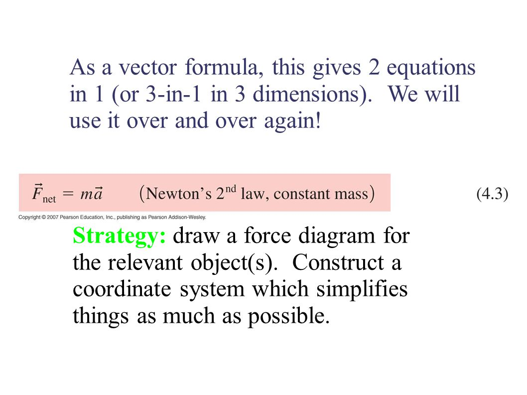 As a vector formula, this gives 2 equations in 1 (or 3-in-1 in 3 dimensions).