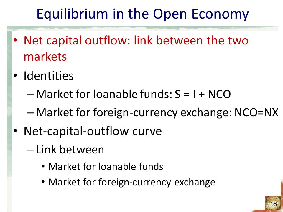 Equilibrium in the Open Economy Net capital outflow: link between the two markets Identities – Market for loanable funds: S = I + NCO – Market for for