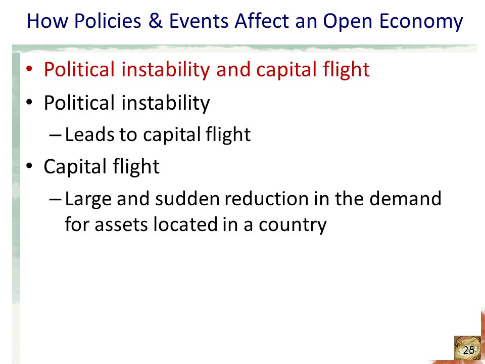 How Policies & Events Affect an Open Economy Political instability and capital flight Political instability – Leads to capital flight Capital flight –