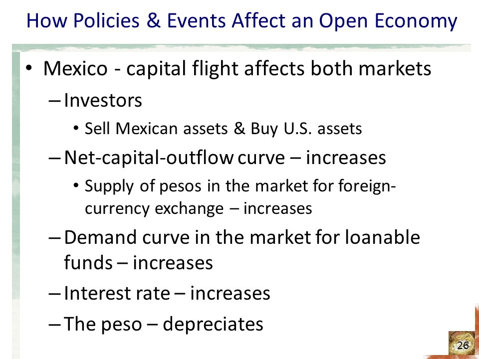 How Policies & Events Affect an Open Economy Mexico - capital flight affects both markets – Investors Sell Mexican assets & Buy U.S. assets – Net-capi