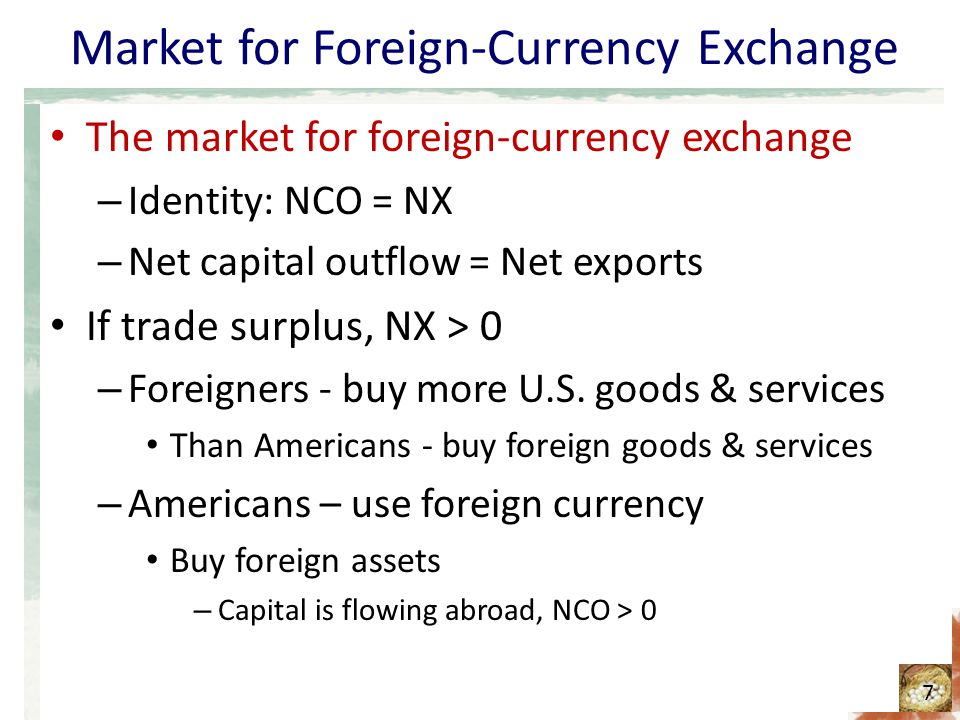 Market for Foreign-Currency Exchange The market for foreign-currency exchange If trade deficit, NX < 0 – Americans - buy more foreign goods & services Than foreigners - buy U.S.