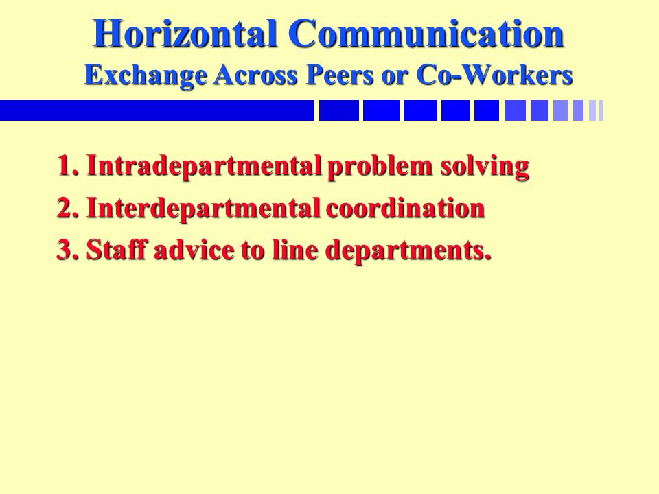 Horizontal Communication Exchange Across Peers or Co-Workers 1.