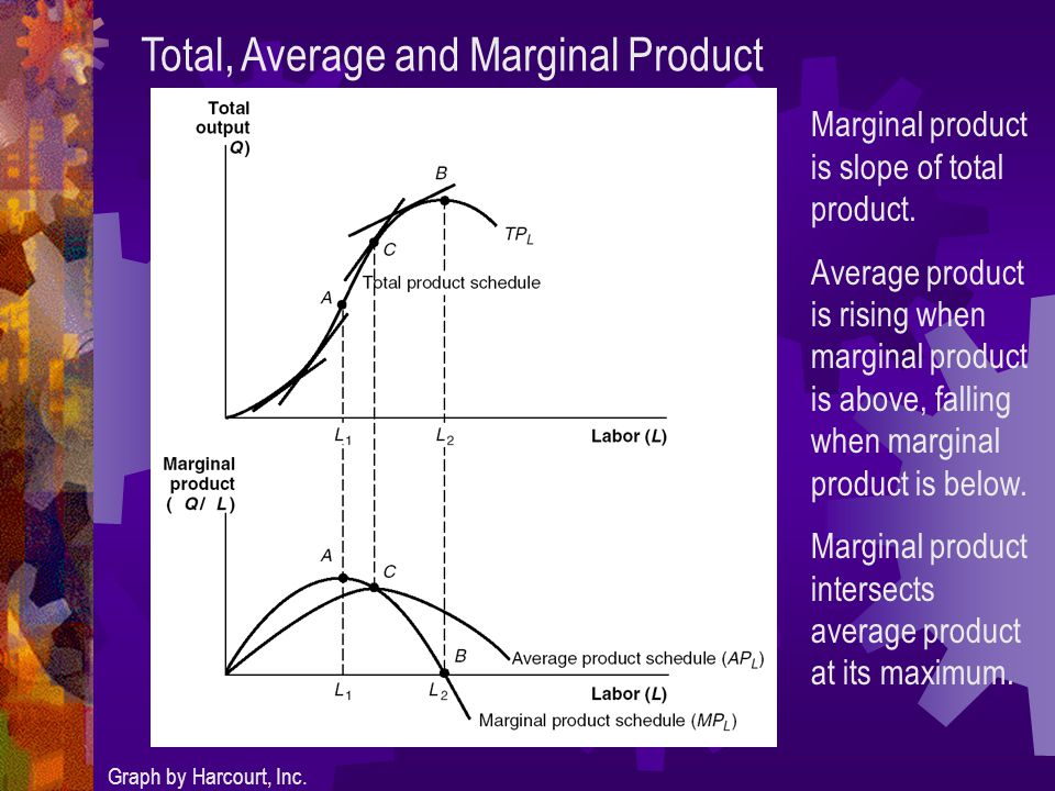 Total, Average and Marginal Product Graph by Harcourt, Inc.