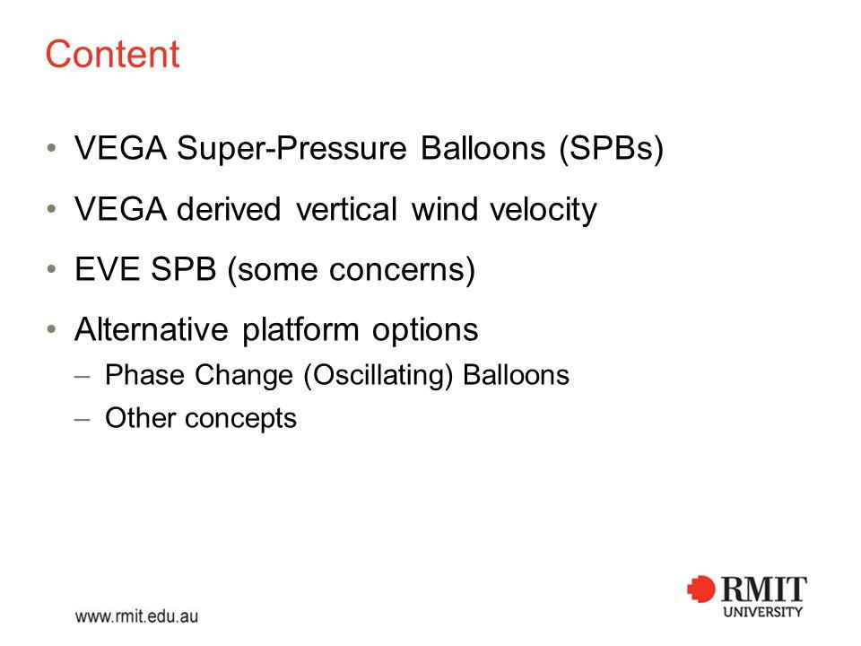 VEGA 1 and 2, June 1985 3.5 m 13 m Envelope Gondola Anemometer 53.5 km altitude westward drift 46 hr limited by battery capacity Helium-filled spherical Super-Pressure Balloon (SPB) Blamont: Demonstration or feasibility study (1985)