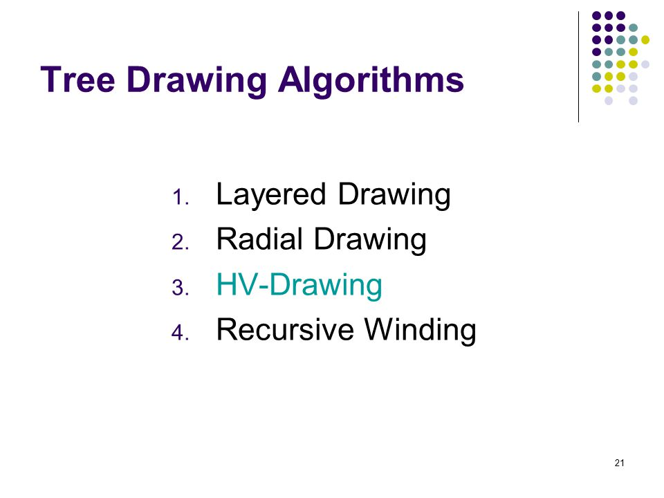21 Tree Drawing Algorithms 1. Layered Drawing 2. Radial Drawing 3. HV-Drawing 4. Recursive Winding