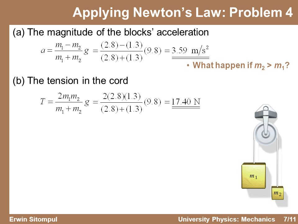 7/11 Erwin SitompulUniversity Physics: Mechanics Applying Newton's Law: Problem 4 (a) The magnitude of the blocks' acceleration (b) The tension in the cord What happen if m 2 > m 1 ?