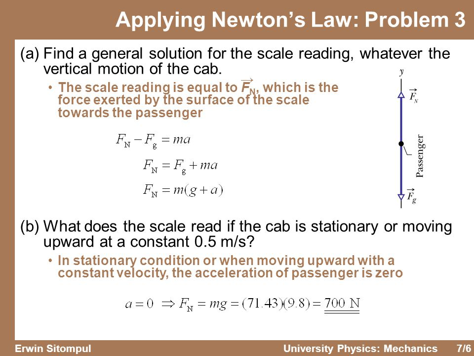 7/6 Erwin SitompulUniversity Physics: Mechanics (a)Find a general solution for the scale reading, whatever the vertical motion of the cab.
