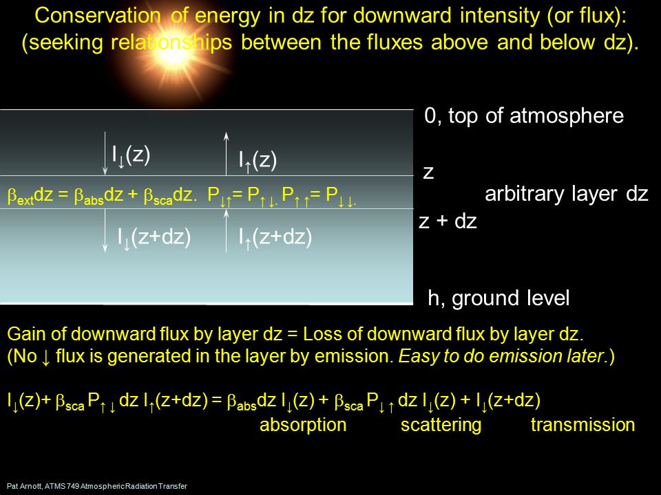 Pat Arnott, ATMS 749 Atmospheric Radiation Transfer Conservation of energy in dz for downward intensity (or flux): (seeking relationships between the fluxes above and below dz).