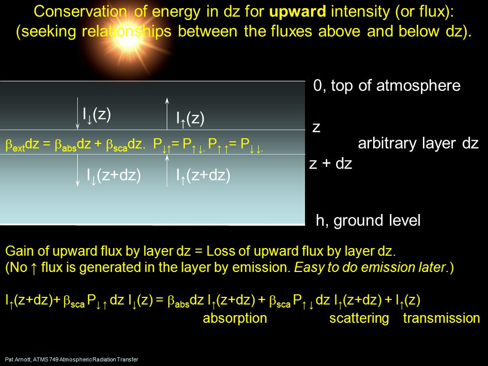 Pat Arnott, ATMS 749 Atmospheric Radiation Transfer Conservation of energy in dz for upward intensity (or flux): (seeking relationships between the fluxes above and below dz).