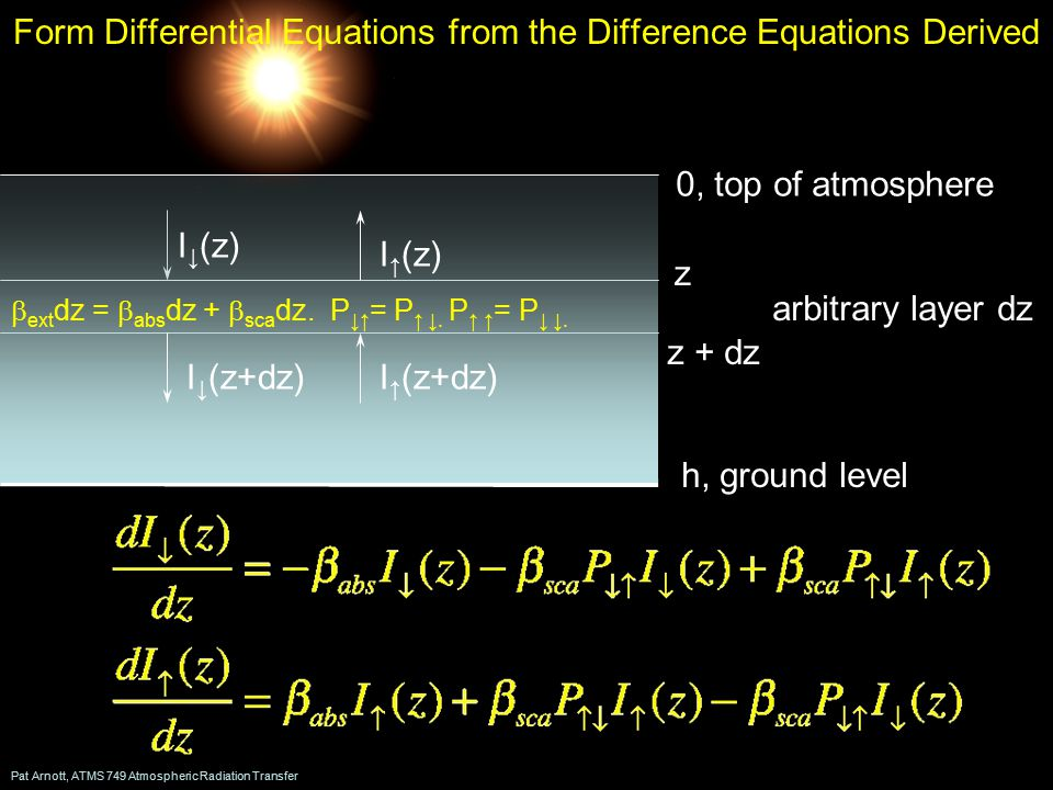 Pat Arnott, ATMS 749 Atmospheric Radiation Transfer Form Differential Equations from the Difference Equations Derived h, ground level 0, top of atmosphere z z + dz arbitrary layer dz I ↓ (z) I ↑ (z) I ↓ (z+dz)I ↑ (z+dz)  ext dz =  abs dz +  sca dz.