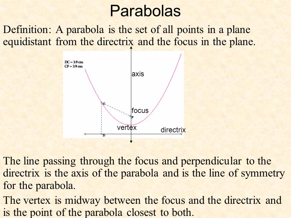 Parabolas Definition: A parabola is the set of all points in a plane equidistant from the directrix and the focus in the plane. The line passing throu
