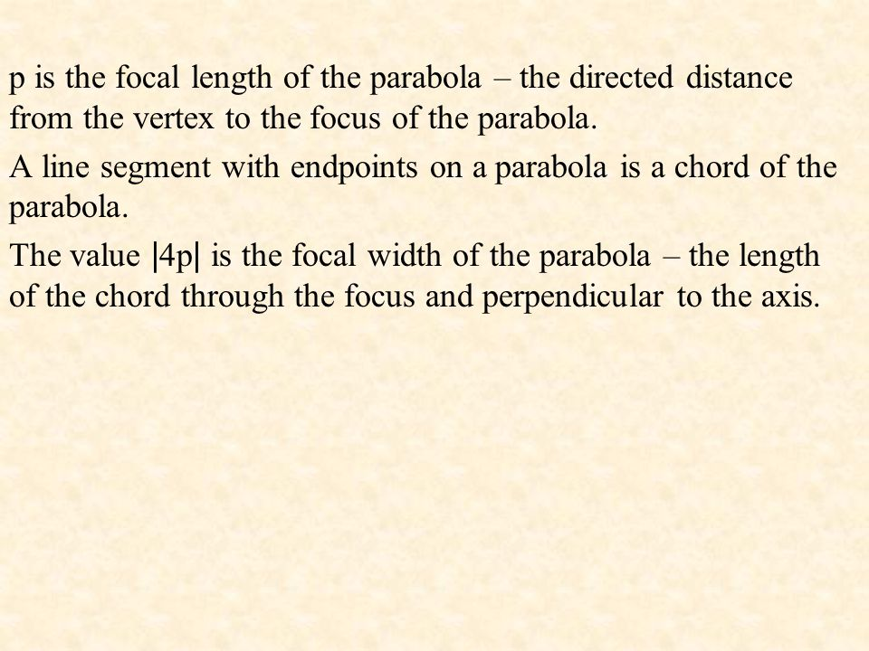 p is the focal length of the parabola – the directed distance from the vertex to the focus of the parabola. A line segment with endpoints on a parabol