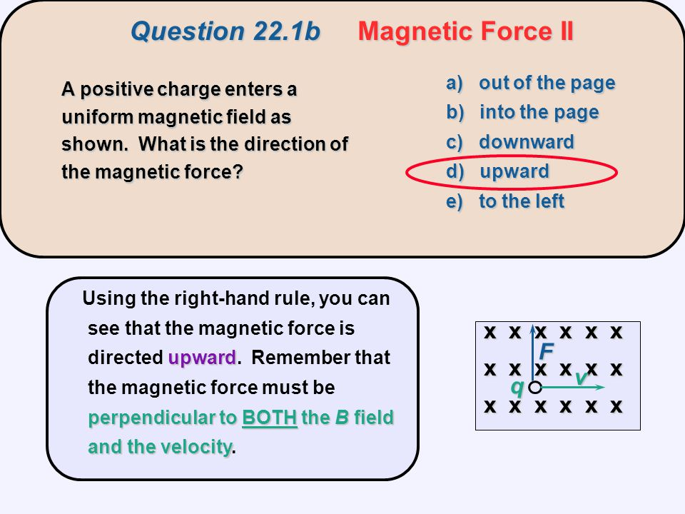 a) out of the page b) into the page c) zero d) to the right e) to the left  v q Question 22.1c Magnetic Force III A positive charge enters a uniform magnetic field as shown.