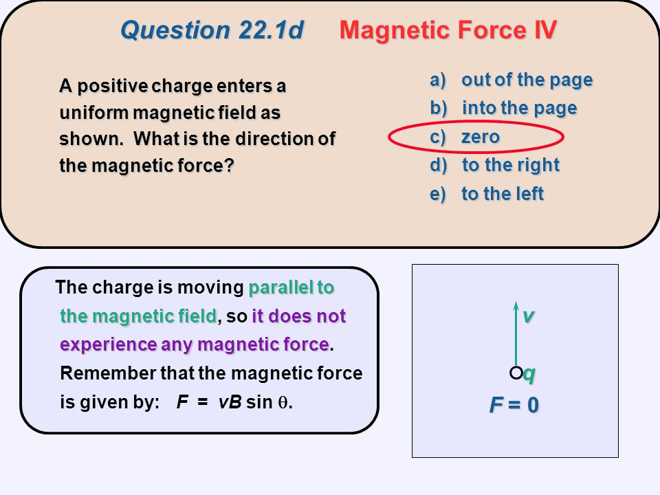 Question 22.6a Magnetic Force on a Wire I A horizontal wire carries a current and is in a vertical magnetic field.