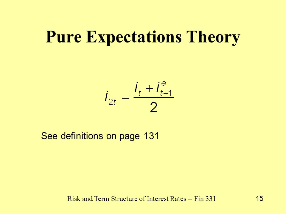 Risk and Term Structure of Interest Rates -- Fin 331 15 Pure Expectations Theory See definitions on page 131