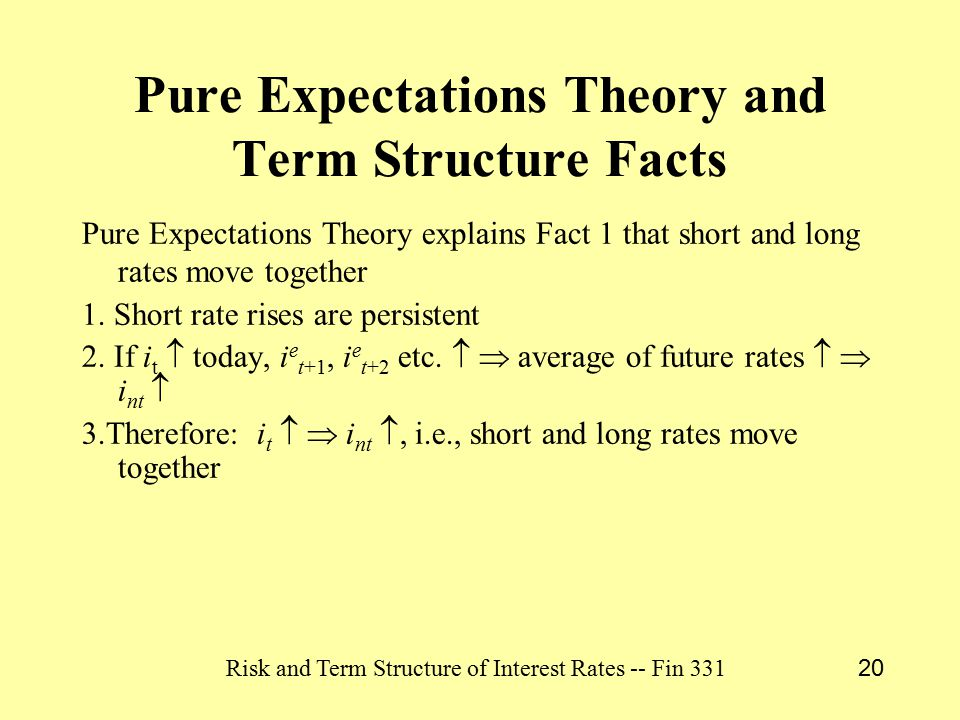 Risk and Term Structure of Interest Rates -- Fin 331 20 Pure Expectations Theory and Term Structure Facts Pure Expectations Theory explains Fact 1 that short and long rates move together 1.