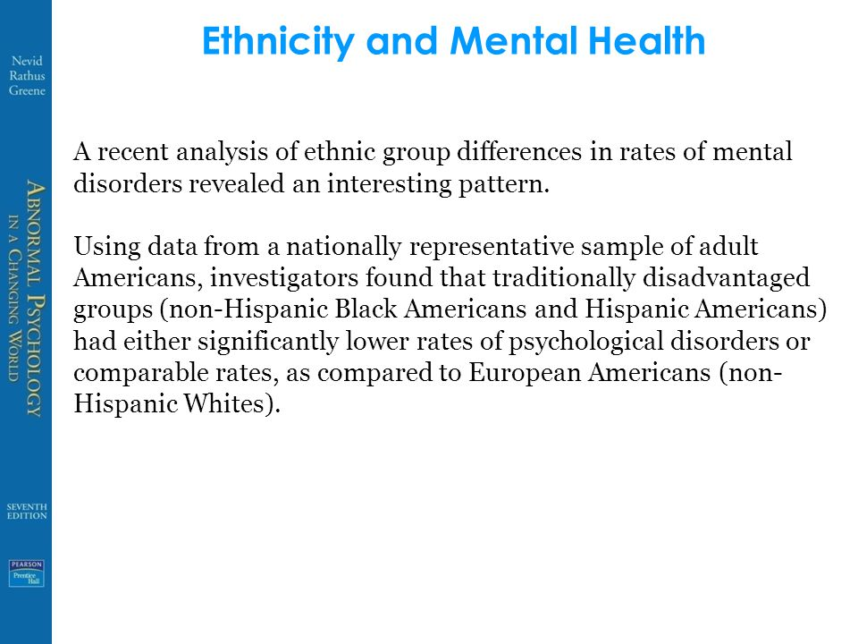 Ethnicity and psychological disorders in the United States