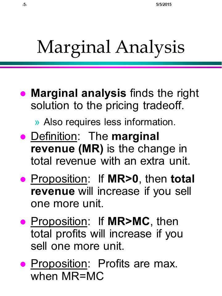 -5- 5/5/2015 Marginal Analysis lMlMarginal analysis finds the right solution to the pricing tradeoff.
