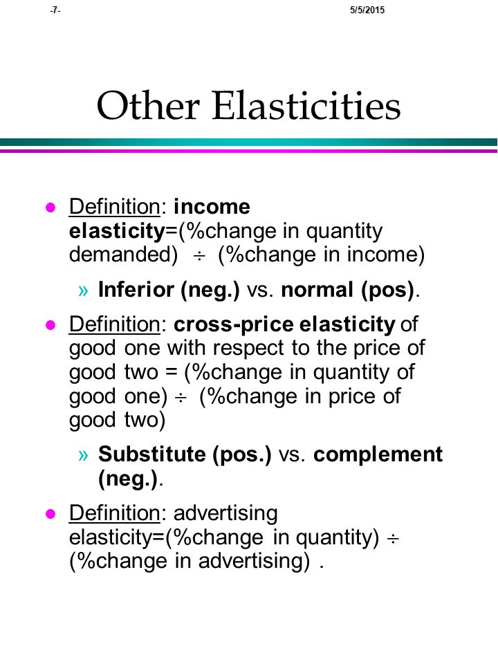 -18- 5/5/2015 Elasticity and pricing (cont.) l Discussion: Sales people MR>0.