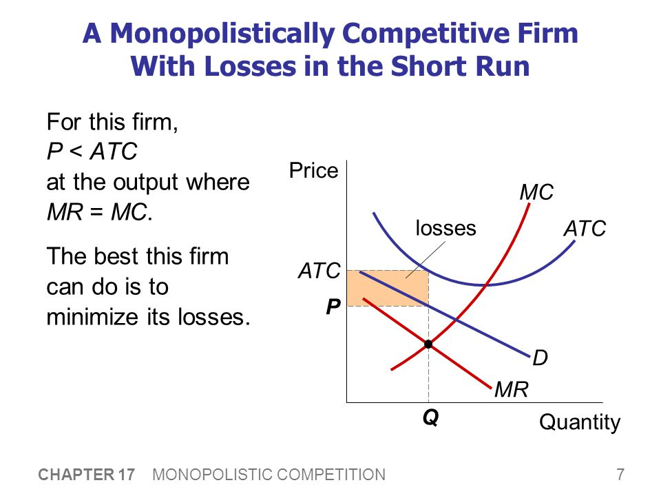 8 CHAPTER 17 MONOPOLISTIC COMPETITION Monopolistic Competition and Monopoly  Short run: Under monopolistic competition, firm behavior is very similar to monopoly.
