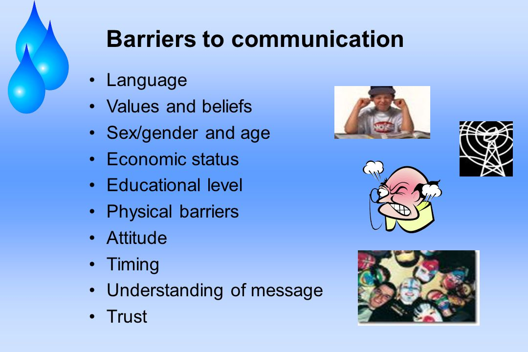 Barriers to communication Language Values and beliefs Sex/gender and age Economic status Educational level Physical barriers Attitude Timing Understanding of message Trust